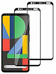 cheap -google pixel 4 screen protector, full coverage bubble free 9h hard tempered glass screen protector for google pixel 4 (2019) [2-packs]
