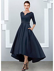 cheap -A-Line Mother of the Bride Dress Elegant V Neck Floor Length Satin Half Sleeve with Pleats 2020