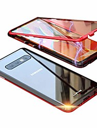 cheap -compatible with samsung galaxy s10 plus case, double-sided glass magnetic adsorption metal frame tempered cover support wireless charging 360° full body case (black+red)