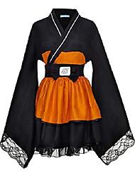 cheap -naruto shippuden uzumaki naruto female lolita kimono dress (medium) black