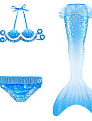 cheap -Kids Girls' Swimwear Bikini 3pcs Swimsuit Mermaid Tail Backless Lace up Swimwear Rainbow Sleeveless Blue Active Cute Bathing Suits 3-10 Years