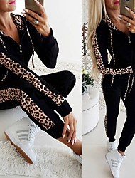 cheap -Women's 2 Piece Full Zip Tracksuit Sweatsuit Casual Athleisure 2pcs Winter Long Sleeve Thermal Warm Breathable Soft Fitness Gym Workout Jogging Training Sportswear Leopard Normal Track pants White