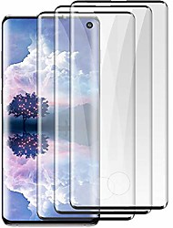 cheap -[3 pack]galaxy s10 screen protector[9h tempered glass][case friendly] [ hd clear] [ultrasonic fingerprint compatible][3d curved] [bubble-free ]for samsung galaxy s10 (6.1inch)