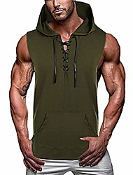 cheap -men casual lace-up muscle hooded tank top workout cut off shirts sleeveless bodybuilding training hoodie army green l