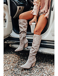 cheap -Women's Boots Cowboy Western Boots Chunky Heel Pointed Toe Knee High Boots Punk & Gothic British Preppy Daily Party & Evening Walking Shoes Faux Leather Buckle Solid Colored Light Grey