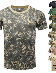 cheap -Men's Hunting T-shirt Tee shirt Camo / Camouflage Short Sleeve Outdoor Summer Well-ventilated Breathability Quick Dry Breathable Top Polyester Taffeta Camping / Hiking Hunting Fishing Traveling