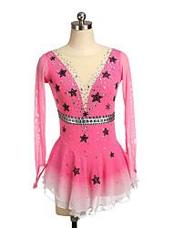 cheap -Figure Skating Dress Women's Girls' Ice Skating Dress Pink Spandex High Elasticity Training Competition Skating Wear Crystal / Rhinestone Long Sleeve Ice Skating Figure Skating / Kids