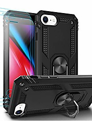 cheap -compatible with iphone se 2020 case,iphone 7/8 case with tempered glass screen protector[3 pack], armor dual layer 2 in 1 and 360 degree rotating metal ring holder kickstand shockproof–black
