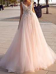 cheap -A-Line Wedding Dresses V Neck Court Train Lace Tulle Sleeveless Country Beach Sexy Wedding Dress in Color with Embroidery 2021