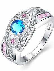 cheap -cnniuha personalized ring multicolored zirconia aluminum alloy fashion filled twisted amethyst couple ring for women & girls (blue)