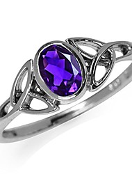 cheap -natural african amethyst white gold plated 925 sterling silver triquetra celtic knot ring size 4.5