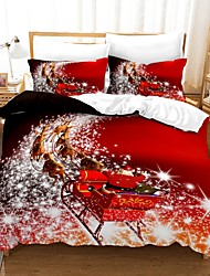 cheap -Christmas Series 3-Piece Duvet Cover Set Hotel Bedding Sets Comforter Cover with Soft Lightweight Microfiber For Holiday Decoration(Include 1 Duvet Cover and 1or 2 Pillowcases)