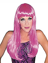 cheap -hot pink glamour wig, hot pink, one size