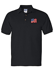 cheap -american flag custom personalized embroidery embroidered golf polo shirt black