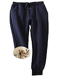 cheap -women's warm sherpa lined athletic sweatpants winter active running jogger fleece pants navy l