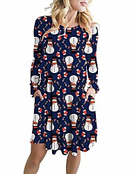 cheap -joyfeel women's ugly christmas printed o-neck long sleeve a-line swing xmas party dress navy