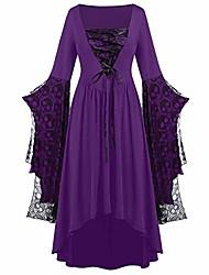 cheap -womne plus size plus size skull lace bell sleeve fashion dress purple