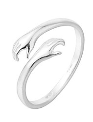 cheap -attractive double hand hug to you finger rings 925 silver jewelry for women men open adjustable