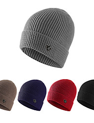 cheap -Men's Hiking Cap 1 PCS Winter Outdoor Windproof Warm Soft Thick Skull Cap Beanie Solid Color Orlon Black Grey Brown for Climbing Camping / Hiking / Caving Traveling