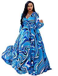 cheap -Women's Swing Dress Maxi long Dress - Long Sleeve Print Print Fall Plus Size Casual Elegant 2020 White Black Blue Red Yellow Green Dusty Blue Beige M L XL XXL 3XL 4XL 5XL
