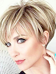 cheap -pixie cut wigs short stylish fluffy layer wig none lace replacement wig with bangs for women brown mix blonde wig short