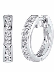 cheap -14k white gold hoop huggies channel set diamond earrings (i1-i2 clarity, 1/2 carat)