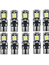 cheap -10pcs Canbus LED White Car Light Bulbs T10 W5W 5 SMD 5050 Super Bright 194 168 2825 Wedge Lights Side Map Interior Lamps