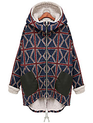 cheap -Women's Geometric Patchwork Streetwear Fall & Winter Coat Long Daily Long Sleeve Rayon Coat Tops Black / Loose