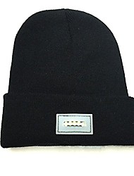cheap -unisex fitted led cap beanie hat light head lamp camping jogging knit