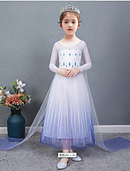 cheap -Princess Elsa Dress Flower Girl Dress Girls' Movie Cosplay A-Line Slip Cosplay Vacation Dress Natural White White Dress Halloween Carnival Masquerade Tulle Polyester
