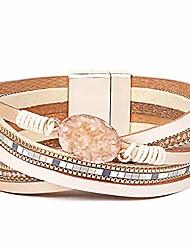 cheap -leather wrap bracelets for women, multilayer boho double wrap bracelet marble beads boho wrap bracelet magnetic clasp cuff bracelet bohemian jewelry gift for women (style 3)