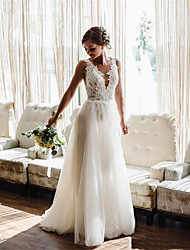 cheap -A-Line Wedding Dresses V Neck Floor Length Lace Tulle Sleeveless Simple Beach with Pleats Appliques 2021