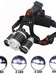 cheap -waterproof 5000 lumen led headlamp, 3 bulbs 4 models adjustable overhead led flashlight for camping biking hunting fishing, rechargeable batteries and wall charger included (silver)