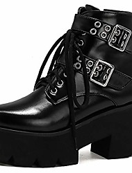 cheap -vimisaoi ankle boots for women, comfortable round toe high heel punk short chunky platform combat riding mid calf boots