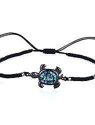 cheap -abalone shell beaded bracelet adjustable turtle friendship wrap bracelet tropical beach sand miyuki bracelet bangle (black)
