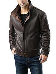 cheap -men's brandon new zealand lambskin bomber jacket brown large