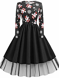cheap -womens vintage christmas santa claus lace ladies long sleeves dress xmas dress(l-black,large)