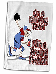 cheap -3d rose funny on drinking team with bowling problem humor design hand/sports towel, 15 x 22