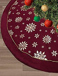 cheap -christmas tree skirt,48 inches large xmas tree skirts with snowy pattern for christmas tree decorations (yellow)