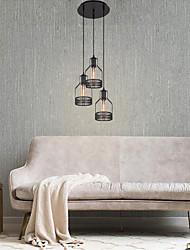 cheap -3-Light Chandeliers 3 Lights Pendant Light Round Adjustable Industrial Iron Pendant Light Fixtures Island Hanging Lighting Ceiling Light Black