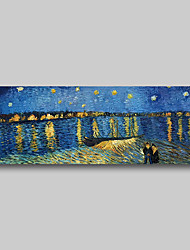 cheap -Hand Painted Van Gogh Museum Quality Oil Painting - Abstract Landscape Starry Night Over the Rhone Modern Large Rolled Canvas