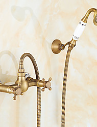 cheap -Shower Faucet Set - Handshower Included pullout Waterfall Vintage Style / Country Antique Brass Mount Outside Ceramic Valve Bath Shower Mixer Taps