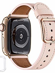 cheap -compatible with apple watch band 38mm 40mm 42mm 44mm women men girls boys genuine leather replacement strap for iwatch series 6 5 4 3 2 1 iwatch se (pink sand/gold, 38mm 40mm)