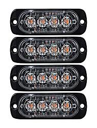 cheap -4x amber ultra thin 4-led warning emergency flashing strobe light bars surface mount for car van truck jeep 4x4 suv atv utv