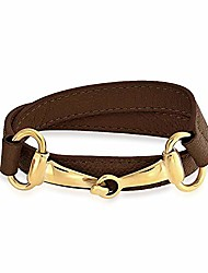 cheap -brown genuine leather horse snaffle bit cow equestrian wrap bracelet for women for teen gold plated stainless steel