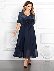 cheap -A-Line Mother of the Bride Dress Plus Size Elegant V Neck Ankle Length Chiffon Sequined Half Sleeve with Appliques 2021