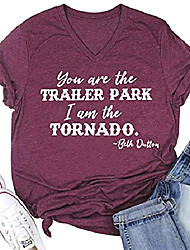 cheap -you are the trailer park i am the tornado beth dutton tv show t shirts women's v neck vintage country graphic tee tops (red, l)