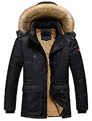 cheap -men's winter cold-proof sherpa lined down alternative parka jacket removable fur hood (large, 10-black)