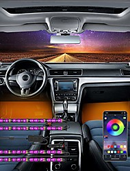cheap -car led strip light app controller car interior lights, waterproof multicolor music under dash lighting kits for iphone android smart phone, car charger included, dc 12v (cigarette lighter)