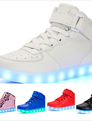 cheap -Boys' Girls' Sneakers LED Comfort LED Shoes Leatherette Little Kids(4-7ys) Big Kids(7years +) Casual Outdoor Walking Shoes Lace-up Hook & Loop LED White Black Red Spring